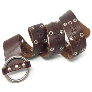 A&F Abercrombie & Fitch Leather Whip Stitch Belt M